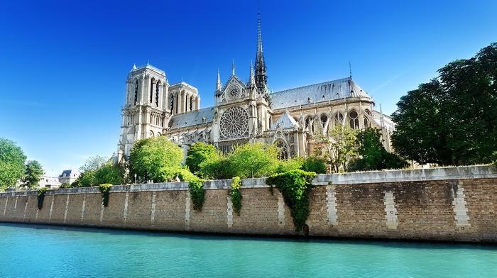 Paris, building, water, Notre, dame, France