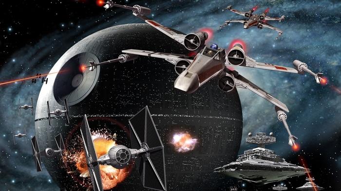 video games, star wars empire at war, TIE Fighter, x, wing, artwork, Star Wars, Star Destroyer, Death Star