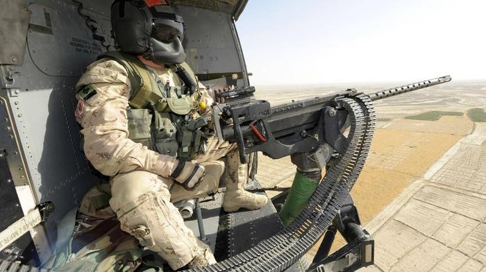 M3M Machine gun, Heckler  Koch, army, machine gun, Canada, helicopter view