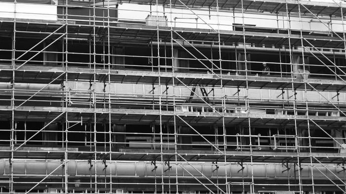 building, construction site, monochrome
