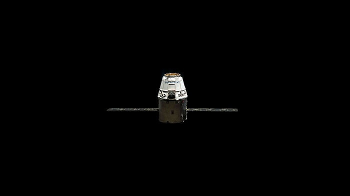 SpaceX, minimalism, black background, satellite, space