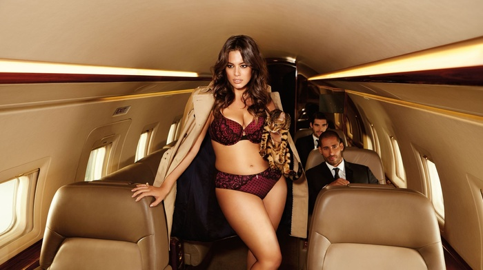 cat, airplane, girl with planes, red lingerie, model, panties, bra, jacket, girl, cleavage, lingerie, hiphuggers