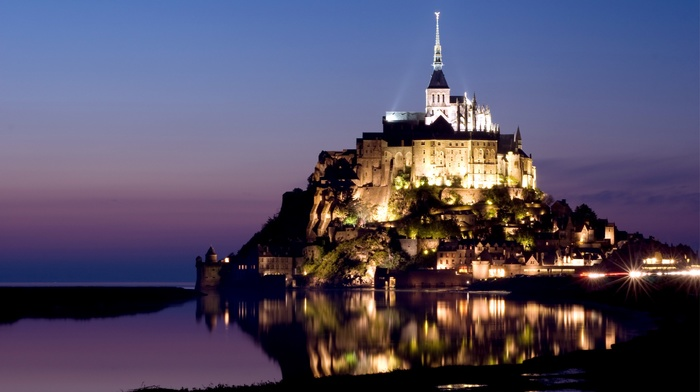 nature, lights, sea, evening, church, house, France, city, castle, sky, landscape, Mont Saint, Michel, rock, sunset