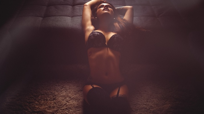 carpets, arms up, sitting, black stockings, stockings, tattoo, black lingerie, girl, hazy, lingerie, garter belt, black bras, black panties, lights, Miro Hofmann