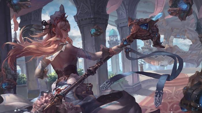 warrior, fantasy art, staff, fantasy weapon, artwork