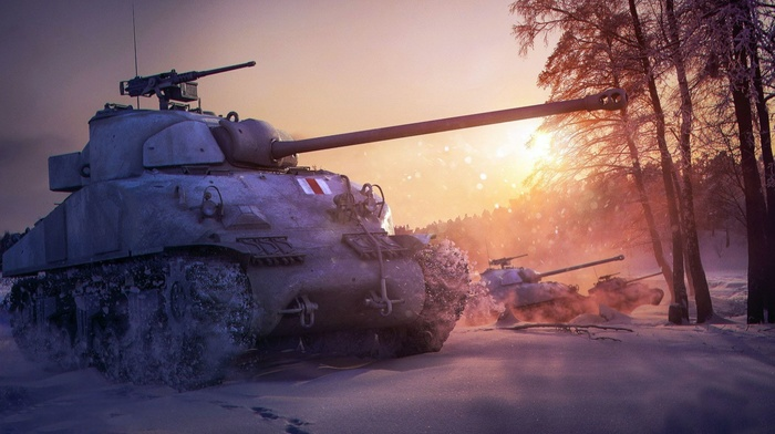 military, snow, World of Tanks, M4 Sherman, forest, video games, winter