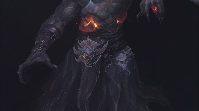 demon, drawing, horns, dark