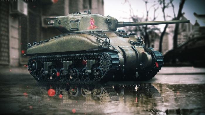 tank, city, photoshop, photo manipulation, M4 Sherman, digital art, trees, landscape