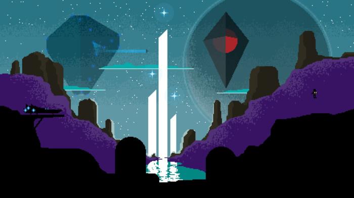 water, spaceship, planet, universe, fan art, pixels, video games, digital art, pixel art, hills, space, futuristic, No Mans Sky, astronaut, 3d object, pixelated, stars