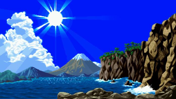 pixelated, Sun, sun rays, waves, clouds, water, digital art, nature, pixels, mountains, trees, rock, sea, hills, pixel art, cliff