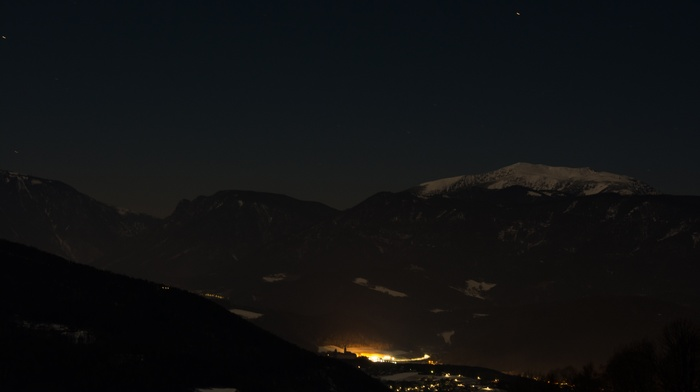 stars, mountains, night