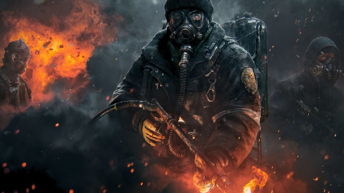 artwork, thedivision, gas masks, video games, Tom Clancys The Division, shooting