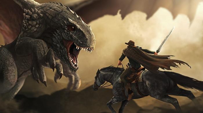 fantasy art, dragon, warrior, horse, artwork