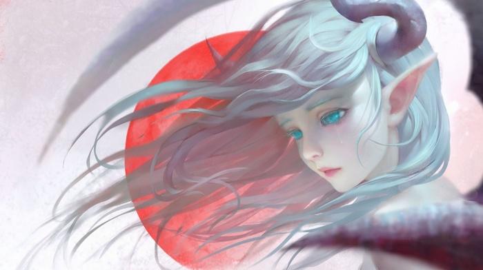 fantasy art, realistic, tears, pointed ears, blue hair, blue eyes, horns