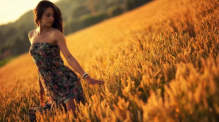 model, field, girl outdoors, girl