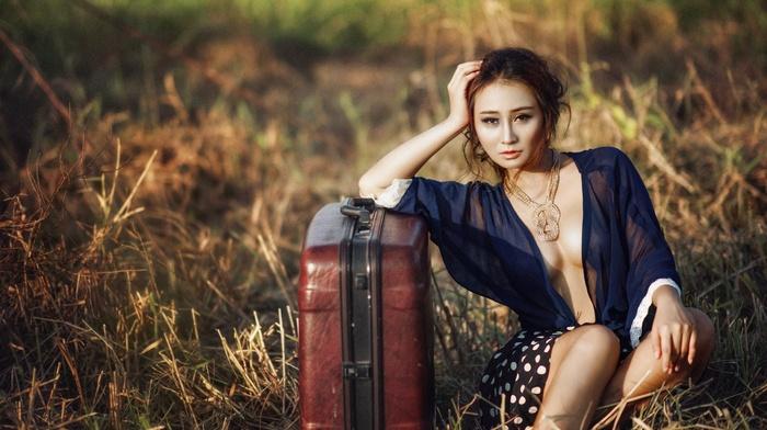 model, field, Asian, girl outdoors, girl