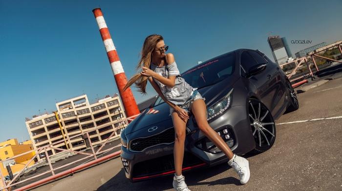 blonde, girl with cars, brunette, jean shorts, girl, skinny, sunglasses, model, Alex Bazilev, Lyubov Gulyak, girl outdoors, sneakers