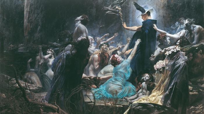 Souls on the Banks of the Acheron, Adolf Hirschl, Greek mythology, Hermes