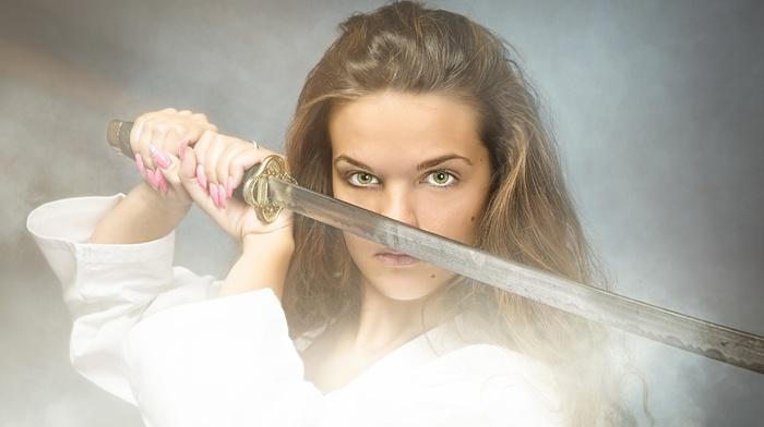 sword, katana, girl, model