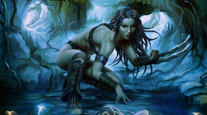 fantasy art, claws, artwork, girl, warrior
