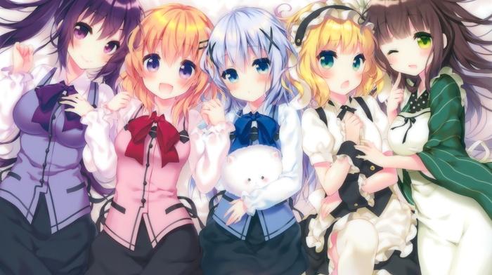Kafuu Chino, anime girls, Kirima Sharo, Tippy  gochuumon wa usagi desu ka, Gochuumon wa Usagi Desu ka, Tedeza Rize, Ujimatsu Chiya, anime, Hoto Kokoa
