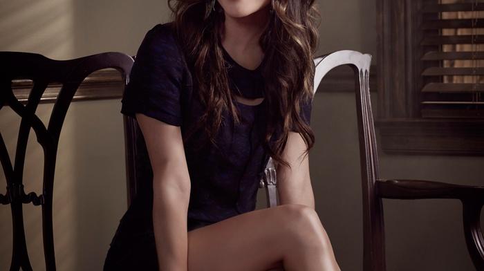 brunette, celebrity, sitting, girl, black dress, Rachel Bilson, actress, looking at viewer, smiling