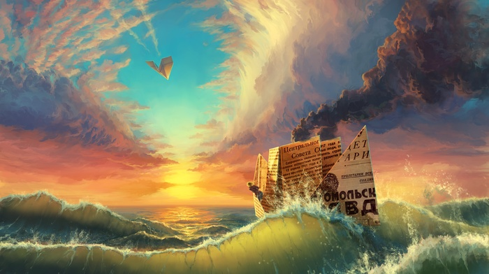 USSR, artwork, clouds, russian, landscape, paper planes, smoke, waves, paper, sunset, paper boats, contrails, digital art, colorful, sea, water, nature, ship