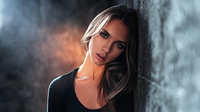 blue eyes, Viktoria Vishnevetskaya, portrait, Georgy Chernyadyev, black clothing, brunette, Victoria Vishnevetskaya, girl