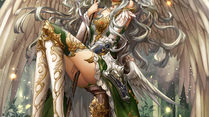 staff, anime girls, thigh, highs, wings, anime, original characters