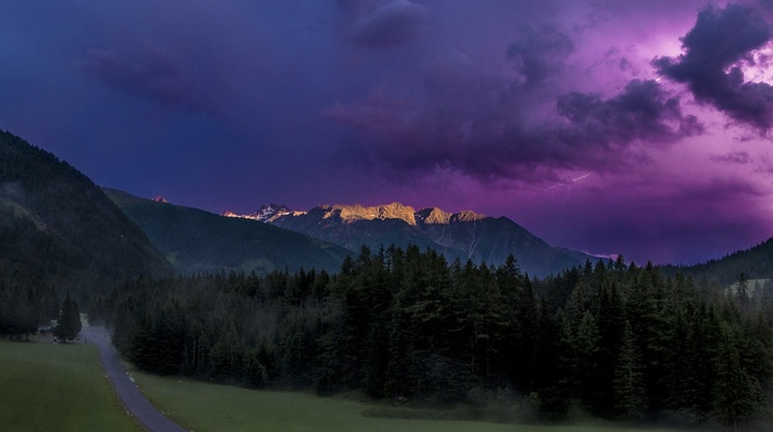 forest, storm, Austria, landscape, sunlight, road, mountains, lightning, clouds, nature