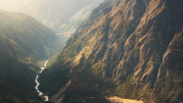 landscape, sunlight, mist, river, mountains, nature, waterfall, Himalayas, shrubs, Nepal