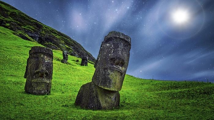 nature, sculpture, landscape, stone, Rapa Nui, enigma, moonlight, long exposure, statue, starry night, Chile, grass, Easter Island, Moai