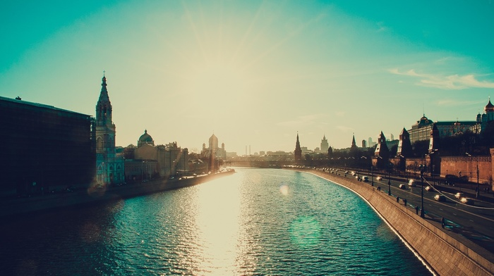 water, Moscow, river, church, reflection, cityscape