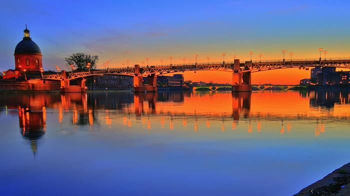 Garonne, Toulouse, France, bridge, sunset, river, Pont Saint, Pierre