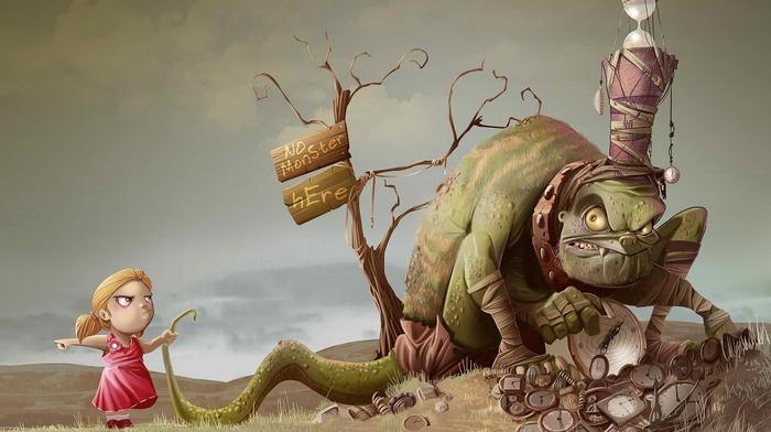 3D, signs, creature, children, nature, humor, angry, digital art, trees, clocks