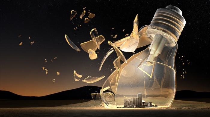 light bulb, city, 3D, lightbulb, nature, desert, building, hills, night, broken glass, sand, stars, shadow, digital art
