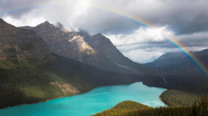 water, lake, trees, Canada, overcast, forest, nature, landscape, rainbows, banff national park, sunlight, mountains, turquoise