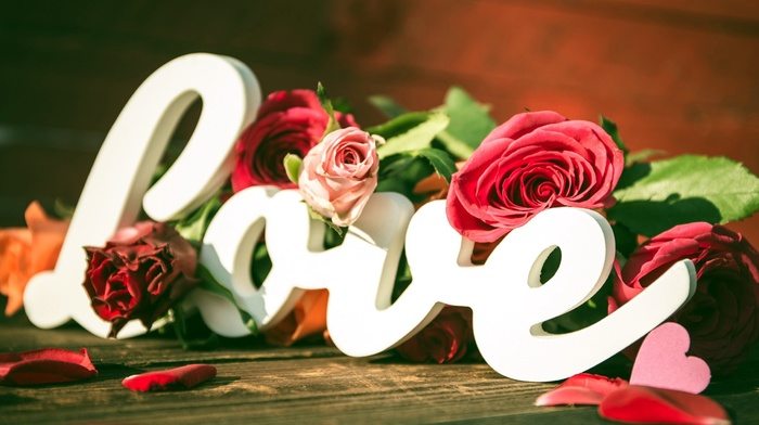love, typography, heart, rose, flowers
