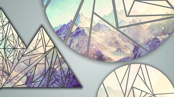 snow, shapes, triangle, poly, mountains, CMYK, circle, multiple display
