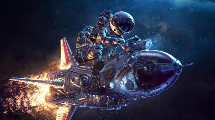 3D, science fiction, spaceship, astronaut