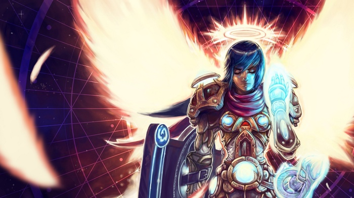 Paladin, angel, World of Warcraft, fantasy art