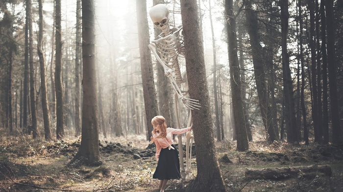 forest, girl, skeleton, fantasy art