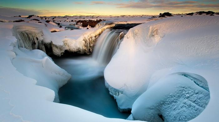 long exposure, landscape, snow, water, waterfall, ice, winter