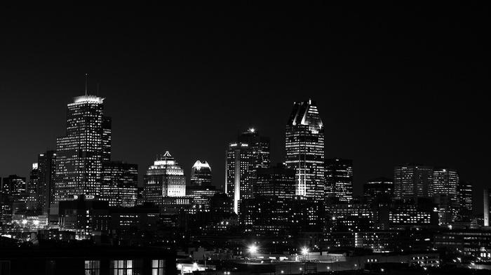 monochrome, street light, cityscape, urban, photography, Montreal, city, building, night