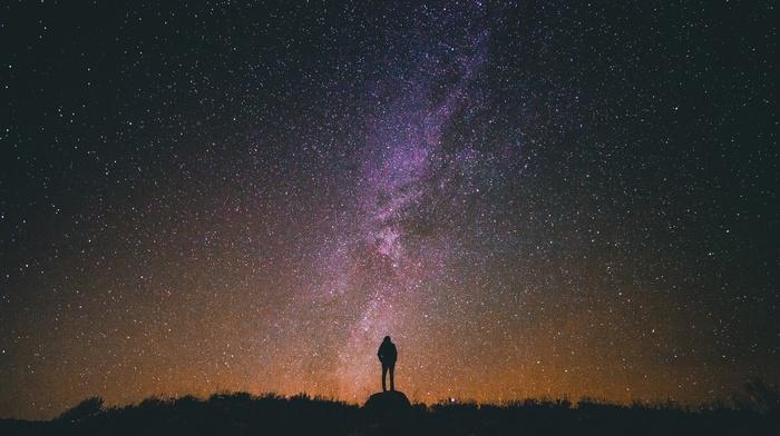 girl, stars, Milky Way, space, portrait