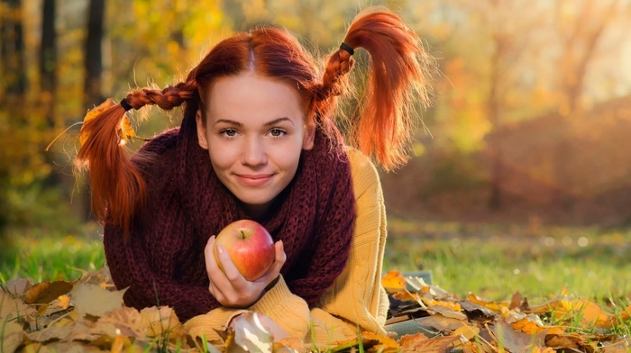 fall, braids, girl outdoors, smiling, pigtails, grass, scarf, pippi longstocking, model, trees, leaves, sweater, nature, fruit, long hair, apples, lying on front, redhead, girl, looking at viewer