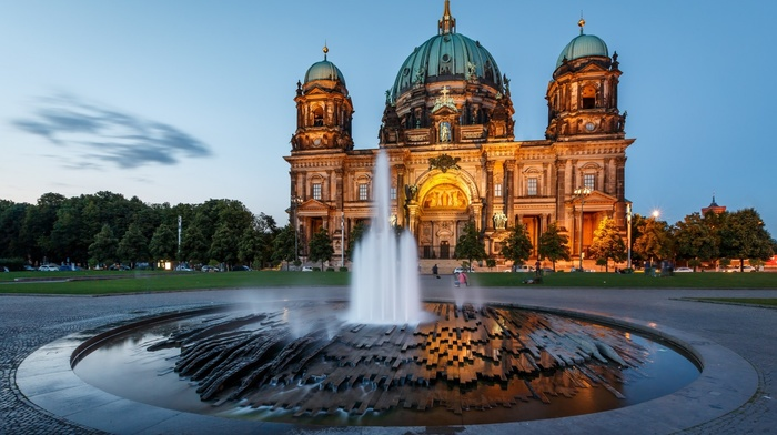 fountain, field, sculpture, trees, long exposure, castle, dome, Berlin, clouds, cathedral, Germany, water, lights, architecture
