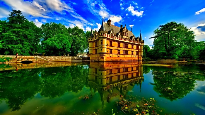wall, clouds, castle, house, lake, leaves, architecture, nature, water, trees, sky, reflection