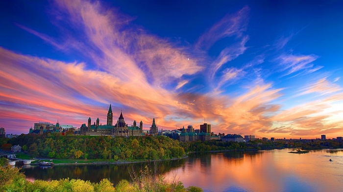ship, sunset, clouds, castle, tower, river, building, church, forest, Canada, water, architecture, cathedral, trees