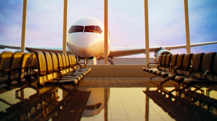 airplane, empty, airport lounge, chair, airport, window, tiles, reflection, passenger aircraft, clouds, sunlight